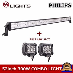 52inch 300w Led Light Bar Offroad Truck Atv Ute Driving 2x 18w Pod Lights Cube