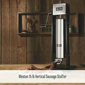Weston Vertical Sausage Stuffer 15 Lb Capacity Two speed Stainless Steel