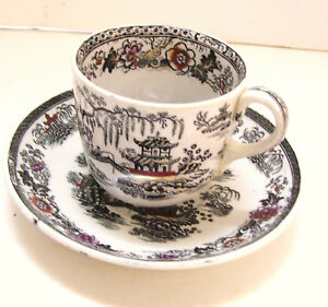 Ironstone Cup And Saucer J C Co Stoke On Trent Chinese Pattern Repaired Cup