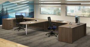 4 Person L Shaped Workstation Cubicles Systems Furniture 12ft X 12ft Many Colors