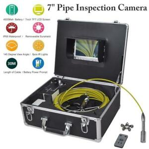 7 Waterproof Drain Pipe Inspection Sewer Led Camera Lcd Monitor 1000 Tvl 30m