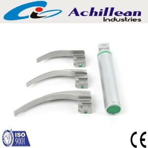 Fiber Optic Macintosh Laryngoscope Set 3 Blades With Handle