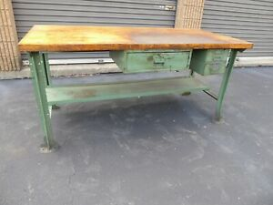 Vintage Lyon 6ft Butcher Block Work Bench W Drawer Green Legs Antique Factory 1