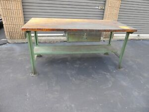Vintage Lyon 6ft Butcher Block Work Bench W Drawer Green Legs Antique Factory 2
