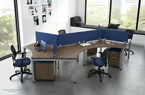 4 Person Workstation Cubicles Systems Furniture With Privacy Panels Many Colors