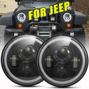 2x Dot 7 Inch Round Led Headlights Hi lo Beam For 97 18 Jeep Jk Tj Lj Wrangler