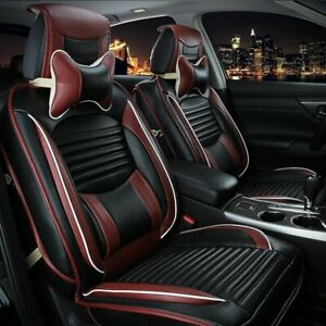 13pcs 5 seats Pu Leather Seat Cover Car Suv Full Front rear Cushions Set Black