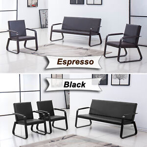 Reception Room Sofa Set 3 Pcs Office Chair Guest Sofa Waiting Bench Pvc Leather