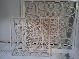 2 Vintage Cast Iron Metal Hanging Decorative Scroll Wrought Iron Grates