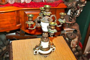 Vintage Victorian Style 4 Arm Candelabra Candle Holder 1 Holds 5 Candles
