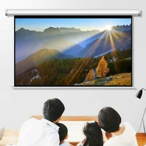84 Diagonal Hd 16 9 Projector Screen Pull Down Home Conference Projection White