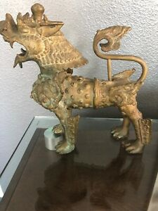 Ornate Standing Solid Bronze Vintage Asian Fu Dog Lion
