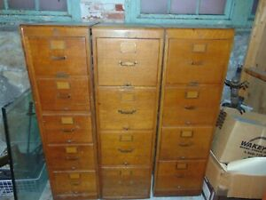 Antique 4 Drawer Wood Library Bureau Makers File Cabinets