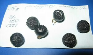 Antique Victorian Bohemian Jet Glass Mourning Buttons Lot Of 6 Civil War Whitby