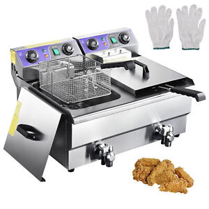 Electric Deep Fryer W Drain Timers Commercial Countertop Fry Basket Restaurant