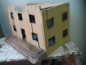 Antique Primitive Folk Art Wood Hotel Building Old Mustard Paint Doll House
