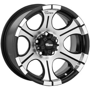 4 dick Cepek Dc2 16x8 6x5 5 12mm Black machined Wheels Rims 16 Inch