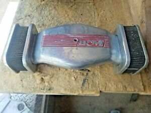 Vintage B M Low Profile Twin Dual Element Air Cleaner Intake Polished Aluminum