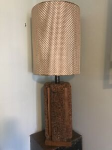 Rare Vintage Mid Century Cork Lamps With Atomic Metal Wire Mesh Shades