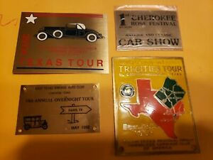 Metal Lot Of 4 Car Dash Plaques Club Event Vintage Sm116