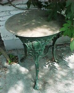 Antique Cast Iron Garden Table With Marble Top