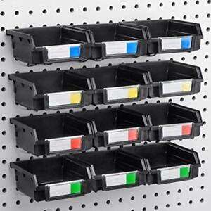 Pegboard Bins 12 Pack Black Hooks To Any Board Organize Hardware Accessories
