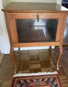 Antique Tiger Oak Display Wood Table Glass Front