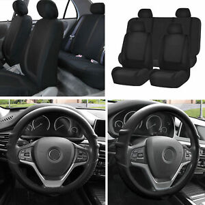 Cloth Seat Covers Full Set Black W black Silicone Steering Wheel Cover