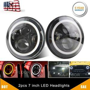 2pcs Dot 7 Inch Round Led Headlight Drl Signal Light For Jeep Wrangler 07 18 Jk