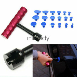 Car Body Paintless Dent Repair Removal Tool Kit Puller Lifter T Bar 18 Glue Tabs
