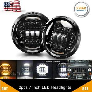 Pair 7 Inch 300w Led Headlights Halo Turn Signal For Jeep Wrangler Jk Tj Suzuki
