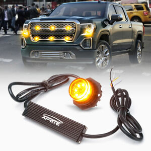 Xprite Amber Led Hide a way Strobe Light Head Assembly Car Emergency Warning