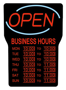 Led Open Sign W Business Hours 15x24