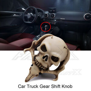 Universal Gear Shift Knob Skull W Long Tongue Manual Car Shifter Lever White