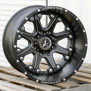 20 Matte Black Lonestar Bandit Wheels 20x12 8x6 5 44 Chevy Dodge Ram 2500 3500