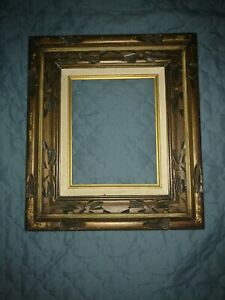 Mexico Carved Gold Wood Cloth Picture Frame Vintage 17 5 X 15 75 Holds 8 X10