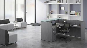 L Shaped Reception Desk Glass Counter Drawers Reversible Return Gray White More