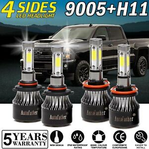 Combo Led High Low Beam For Chevrolet Silverado 2500 Hd 08 2019 Headlight Bulbs