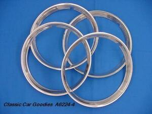Trim Rings Ribbed 14 Polished Stainless 4 Street Rod