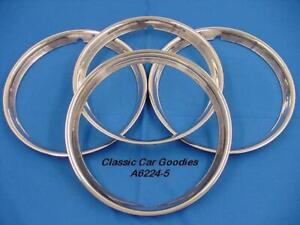Trim Rings Ribbed 15 Polished Stainless 4 Street Rod