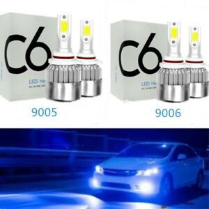 Combo 9005 9006 Led Headlights Bulbs 8000k Ice Blue 55w 8000lm Kit High Low Beam