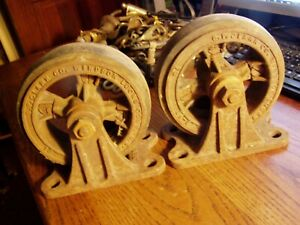 Antique Vintage Industrial Set G P Clark Co 2 Cast Iron Wheels 6 1 2