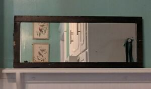 Antique Vintage Long Wall Mirror In Dark Crackled Wood Frame 10 X24 Table Tray