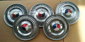 Vintage 1960 s Mercury Ford Hubcap Red White Blue 13 Inch Quantity 5