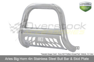 Aries 4in Big Horn Stainless Bull Bar W Skid Plate 2009 2017 Dodge Ram 1500