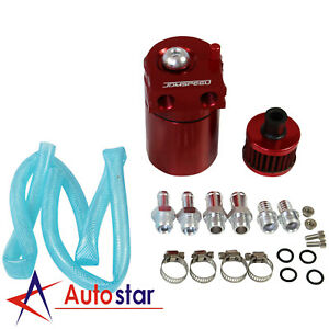 Red Oil Catch Can Tank Reservoir Breather Aluminum Cylinder Engine W Filter Kit