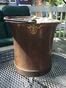 Antique Copper Brass Iron Handle Apple Butter Cauldron Bucket Planter Numbered