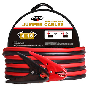 Topdc 100 Copper Jumper Cables 4 Gauge 16 Feet 600amp Heavy Duty Booster Cables