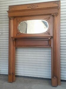 Victorian American Tiger Oak Fireplace Mantel Fluted Column Oval Mirror 1890 S