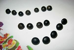 Lot Antique Shoe Boot Buttons Black Round Teddy Bear Eyes Victorian High Top Vtg
